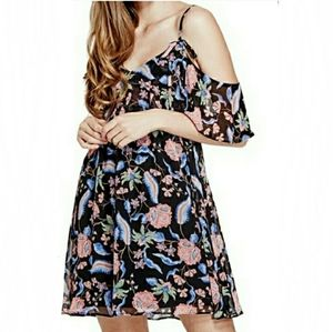 Guess black floral cold shoulder layered dress